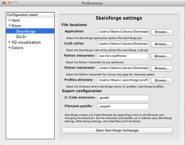 Skeinforge Preferences