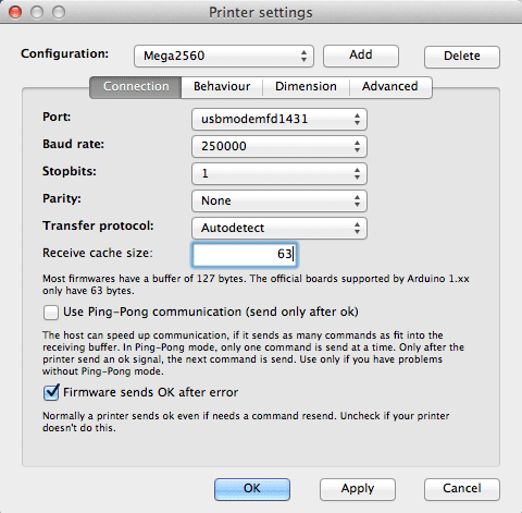 Printer Settings - Connection