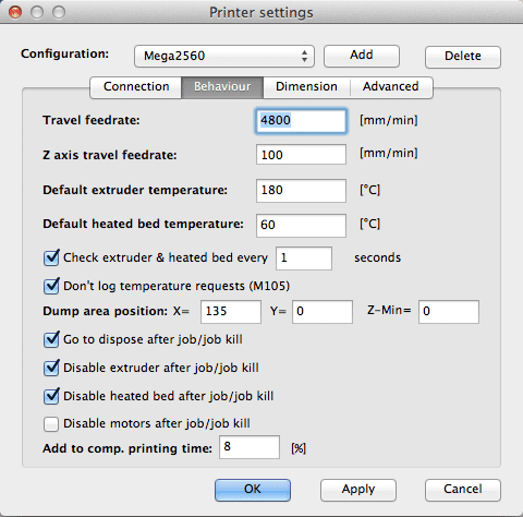 Printer Settings - Behaviour